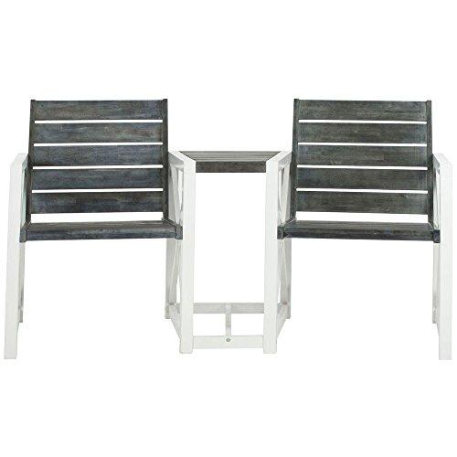 Jovanna White/Ash Grey Acacia Wood 2-Seat Patio Bench