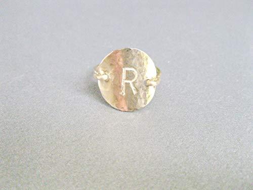 Handmade Designer, Gold filled or Sterling silver Signet Ring, Initial Hand Stamped Disc Ring, 6.5 US