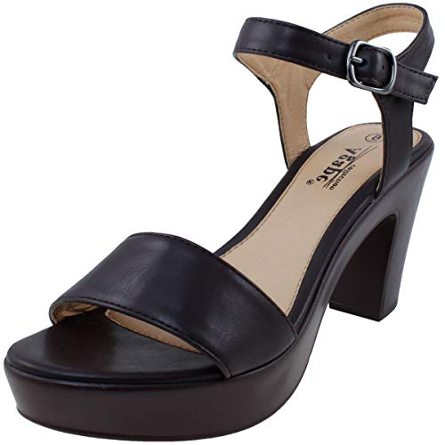 Brown Chocolate Heeled - Agape POST-71 Lightweight Comfort Chunky Platform Heel Sandal Chocolate 8