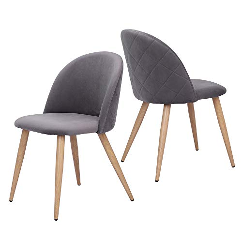 Velvet Dining Chairs for Restaurant, Lounge, Leisure Upholstered Mid Century Chairs, Firm Iron Foot, Mid-Back Support, Set of 2 (Gray)