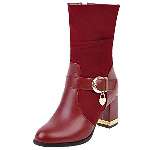 COOLCEPT Ladies Comfort Winter Warm Autumn High Heel Mid Calf Boots Wine Red 8tnh5x0