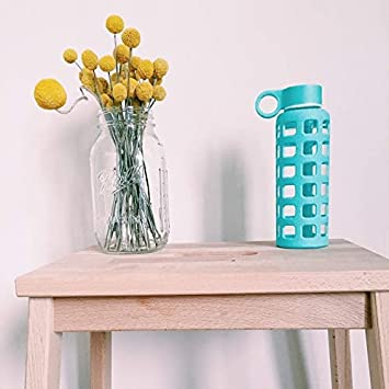 12//22 32 oz purifyou Premium Glass Water Bottle with Non-Slip Silicone Sleeve and Stainless Steel Lid Insert