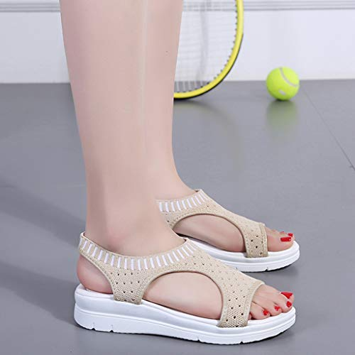 CCOOfhhc Women's Flat Sandals Comfy Platform Sandal Shoes Summer Beach Travel Shoes Non-Slip Casual Shoes Beige by CCOOfhhc (Image #6)