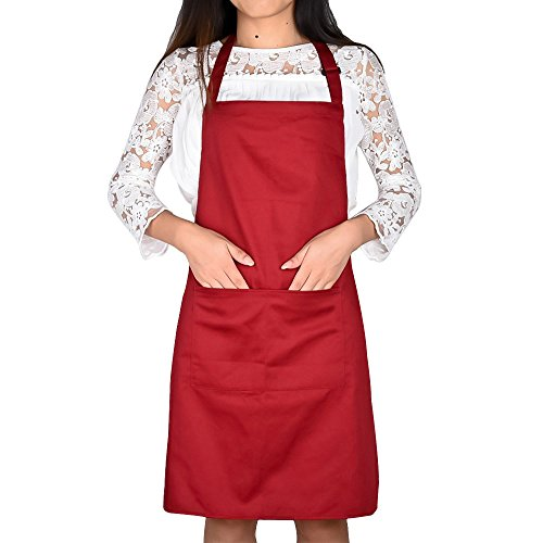 [Jinberry Classic Unisex Adjustable Apron with Two Pockects Chef Apron for Restaurant BBQ or Kitchen Thick Fabric -] (Half Doll Half Zombie Costume)