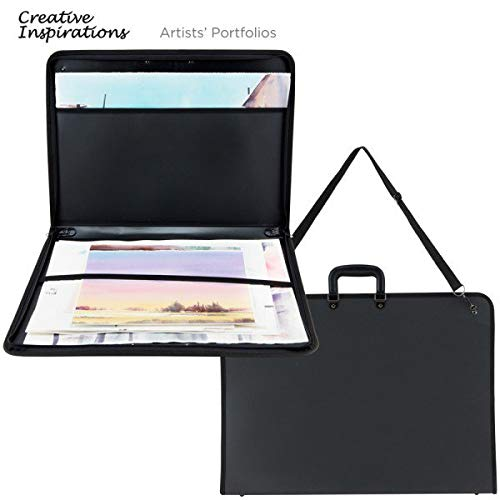 "Creative Inspirations Durable Nylon Artist Art Portfolio Tote Carries Drawings Sketch Pads Books Canvas Frames Sizes Up to 24""x36"""