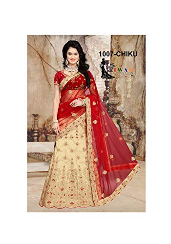 (Bridal Indian/Pakistani Women's Heavy Embroidered Net Designer Lehenga Choli (Off-White, Customize Stitch) )