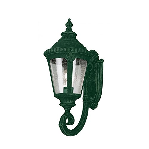 Transglobe Lighting 5040 VG Outdoor Wall Light with Seeded Glass Shade, Verde Green Finished ()