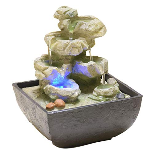 Envirascape Illuminated Rock - AlenX Indoor Waterfall Fountain, Tabletop Envirascape Fountain LED Lights Feng Shui Fountain Desk Water Fountain (D 135x135x180mm)