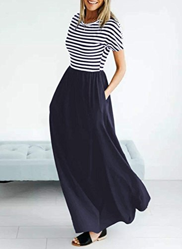 Dress Casual Yidarton Short Long Maxi Striped Pockets Navy Dress Sleeve Women's Crew with Neck xxTqpwv