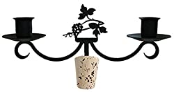 Iron Grapevine Taper Candle Holder Wine Bottle Top Candelabra - Heavy Duty Romantic Candelabrum With Wine Stoppers