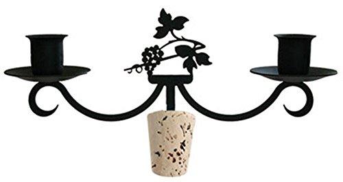 Iron Grapevine Taper Candle Holder Wine Bottle Top Candelabra - Heavy Duty Romantic Candelabrum with wine stoppers - Grapevine Candle Wine Holder