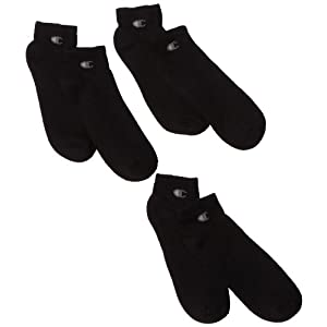 Champion Men's 3 Pack Quarter Sock, Black, 6-12