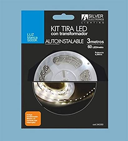 SILVER 240350 Kit Tira de 3 Metros, 4.8 W, Blanco: Amazon.es ...