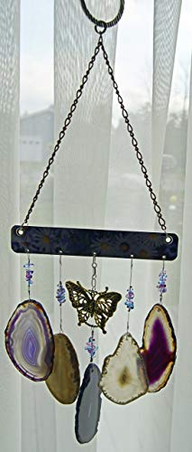 wind chime Agate geode windchime deep purple and light amber/gray tone stone sun catcher wind chime mobile window decor hanging beautiful golden butterfly by Riverstone Gallery (Image #3)