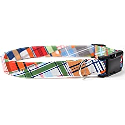 Gone Coastal Plaid, Summer Shirt Pattern Designer Dog Collar, Adjustable Handmade Fabric Collars (L)