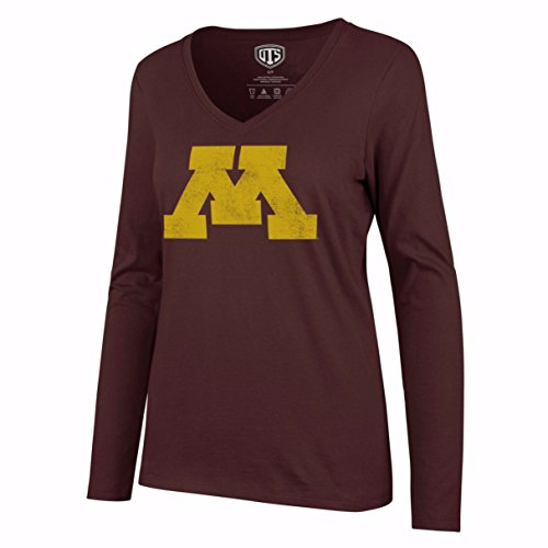 NCAA Minnesota Golden Gophers Women's OTS Rival Long Sleeve Distressed Tee, Dark Maroon, (Minnesota Golden Gophers Womens Basketball)