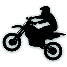 Motorcycle Decal - Motocross Trail Rider Dirt Bike Jumper For Your Tow Vehicle Or Trailer - 7 1/4 x 8 1/2 Inch In Black