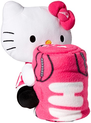 NFL Hello Kitty New England Patriots 40-inch-by-50-inch Throw with Hugger (England Fleece Patriots Blanket New)