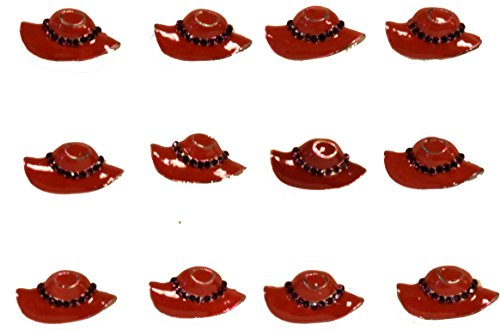 Great Deals! 12 Pck Little Red Hat Rings With Purple Stone (Red Hat Society Charms)