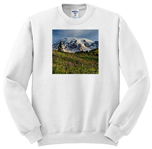 3dRose Danita Delimont - Mountain - WA, Mount Rainier National Park, Mount Rainier and Alpine Meadow - Sweatshirts - Adult Sweatshirt Medium (ss_260491_2)