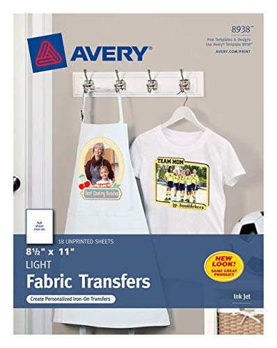 Avery T-Shirt Transfers for Light Fabric, 8.5in x 11in, 18 Sheets (8938) (Renewed)