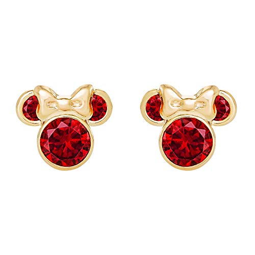 Disney Minnie Mouse 10K Gold Birthstone Stud Earrings, January Red Cubic Zirconia; Mickey's 90th Birthday Anniversary Diamond January Birthstone Earrings