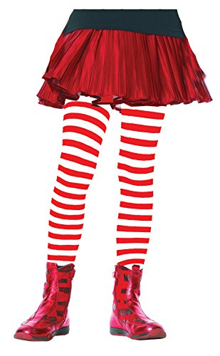 Red And White Costumes (Leg Avenue Children's Striped Tights, Red/White,)