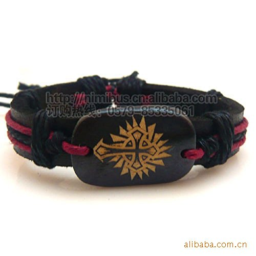 - Prime Leader Korean Style Bracelet Flame Cross Pattern Woven Leather Bracelet Bone(Color:Coffee)