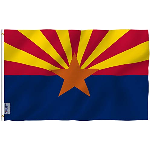 Anley Fly Breeze 3x5 Foot Arizona State Polyester Flag - Vivid Color and UV Fade Resistant - Canvas Header and Double Stitched - Arizona AZ State Flags with Brass Grommets 3 X 5 Ft ()