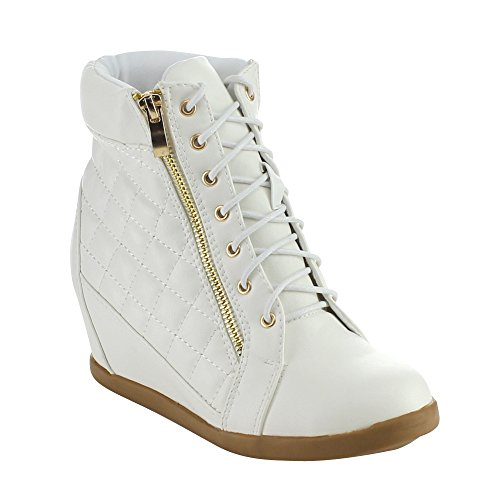 Top Moda PETER-45 Women's Lace Up Quilted Ankle High Concealed Wedge Sneakers, Color:WHITE, Size:6.5