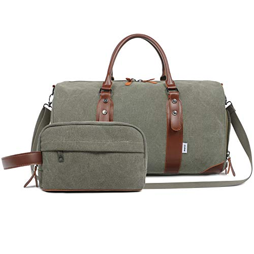 (Oflamn Men's Army Green Weekender Duffle Bag with Shaving Kit Bag & Shoes)