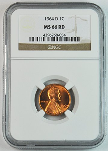 1964 D Lincoln Memorial Cent Brilliant Uncirculated Denver Penny MS66 NGC RD