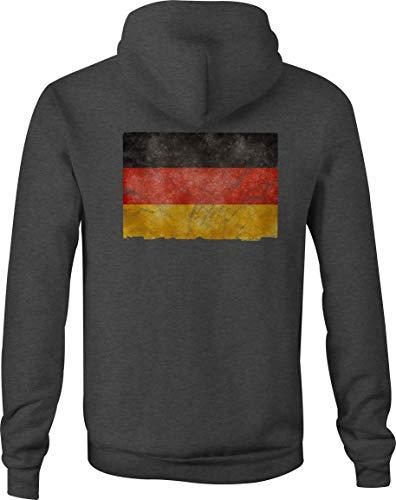 Zip Up Hoodie German Flag Germany Hooded Sweatshirt for Men - 2XL Gray
