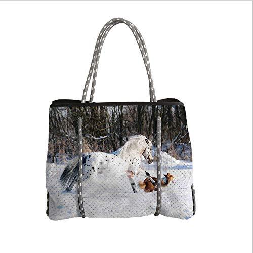 (Neoprene Multipurpose Beach Bag Tote Bags,Horses,Legendary Appaloosa Pony and Sable Border Collie Runs Gallop in Winter Photo Print,Multicolor,Women Casual Handbag Tote)