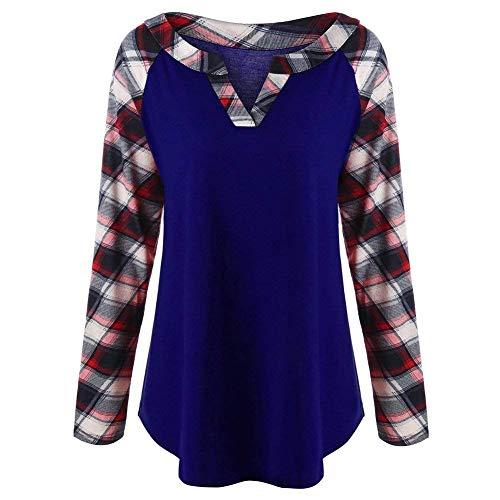 Vintage Longues Haut Blau Party Tops V Hipster Tunique Cou Mode Manches Jeune Fit Shirt Carreaux Femme Printemps Automne Tee Slim Shirts Blouse Xvfwqv