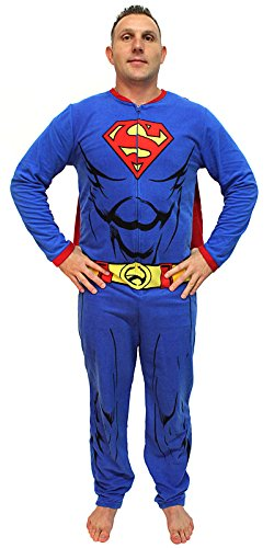 Superman Onesies For Adults (DC Comics Superman Muscle Adult Costume Union Suit with Cape (Small))