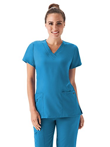 Classic Fit Collection by Jockey Women's Tri Blend Solid Scrub Top Medium Sea Blue