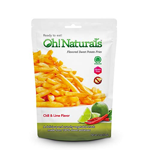 Oh! Naturals Chili and Lime Sweet Potato Fries, Crispy, Crunchy, Delicious Vegetable Snack, French Fry Shaped Chips, 2 x 3 oz Packs
