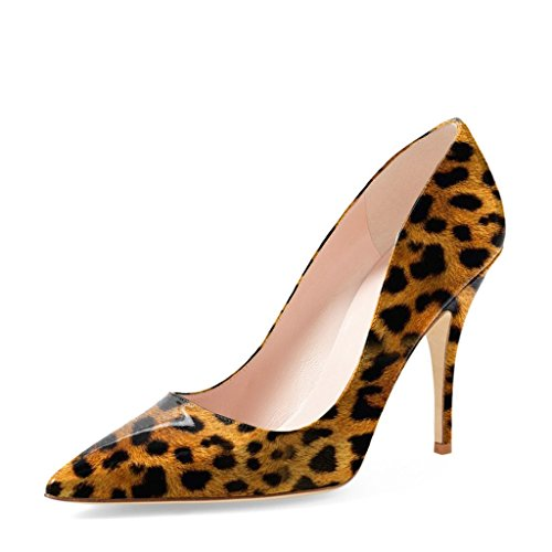 YDN Women Classic Mid Heel Pumps Pointy Toe Slip on Formal Stilettos Office Shoes 13 (Leopard Print) -