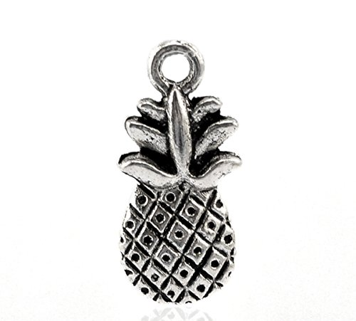 Housweety Silver Pineapple Pendants 19x9mm