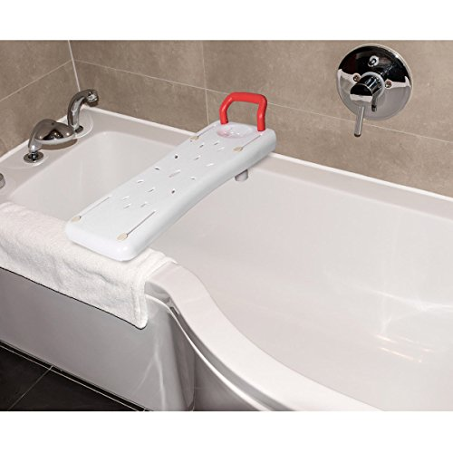 Giantex Portable Bathtubs Shower Bench Ergonomic Seat Adjustable Width Portable Plastic Bathtub Board w/Handle Fit for Most Bathtubs (Portable Bath Board)