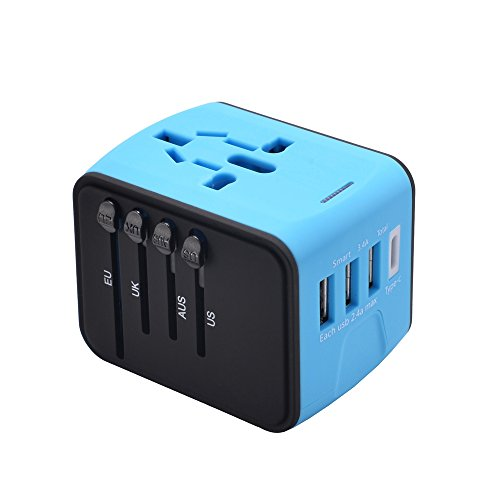 Price comparison product image Universal Travel Adapter, All In One International Travel Plug Adapter with 2.4A USB and 3.0A USB Type-C, Converters and Travel Adapters for Europe UK US AU & Asia - Safety Fused (Blue)