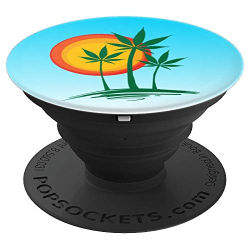 Beautiful Marijuana Cannabis Weed Palm Tree Paradise Beach - PopSockets Grip and Stand for Phones and Tablets