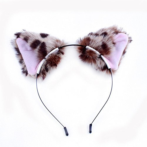 Diy Leopard Cat Costume (Delight eShop Cat Fox Long Fur Ears Orecchiette Party Anime Neko Costume Hair Headband Cosplay (Leopard))