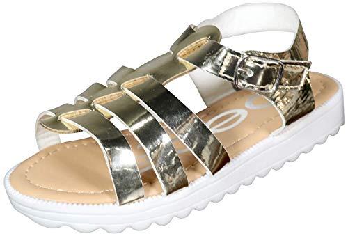 bebe Toddler Girls Shiny Gladiator Sandals with Metallic Mirror Straps, Gold, Size 5 M US Toddler