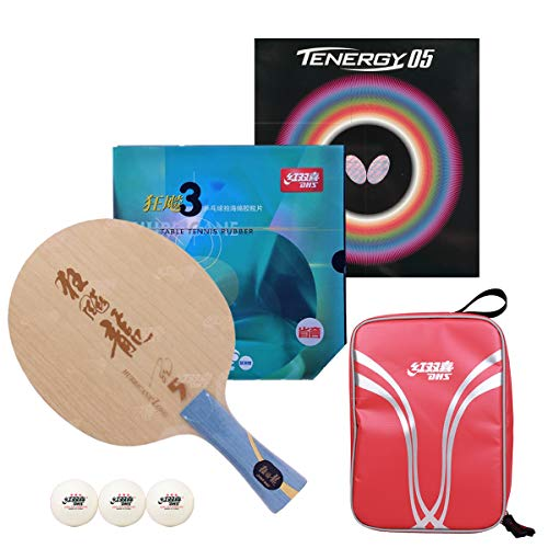 DHS Handwork Professional Table Tennis Racket- Includes Hurricane Long 5 Paddles Butterfly Ping Pong Rubber Table Tennis Bag;Can participate in ITTF Tournament