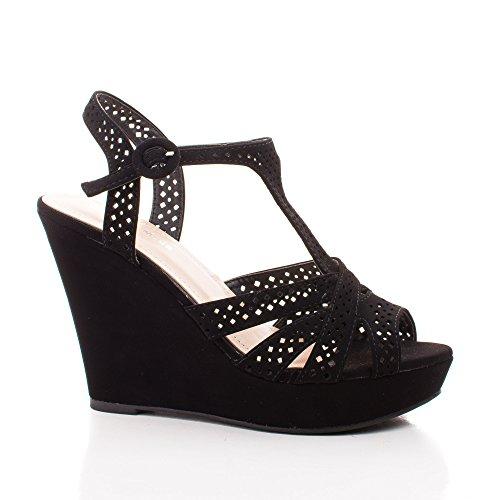 Peep Toe Laser Cut Out Slingback Platform Wedge Dress Sandals (7 M US, Black Nub) (Platform Wedge Slingback)