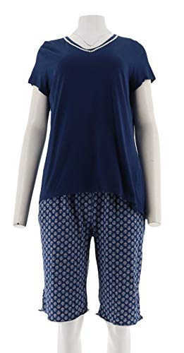 Carole Hochman Floral Blossoms Cotton Jersey 3-Pc Pajama Set Navy M New A302159 ()