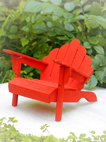 Dollhouse Furniture Rustic Red Wood Adirondack Chair - Miniature Magic Scene Supplies Your Fairy Garden - Outdoor House Decor ()