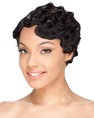 Short Wig Black Curly Wig Finger Wave Synthetic Full Wig Fashion Wigs Cosplay ()